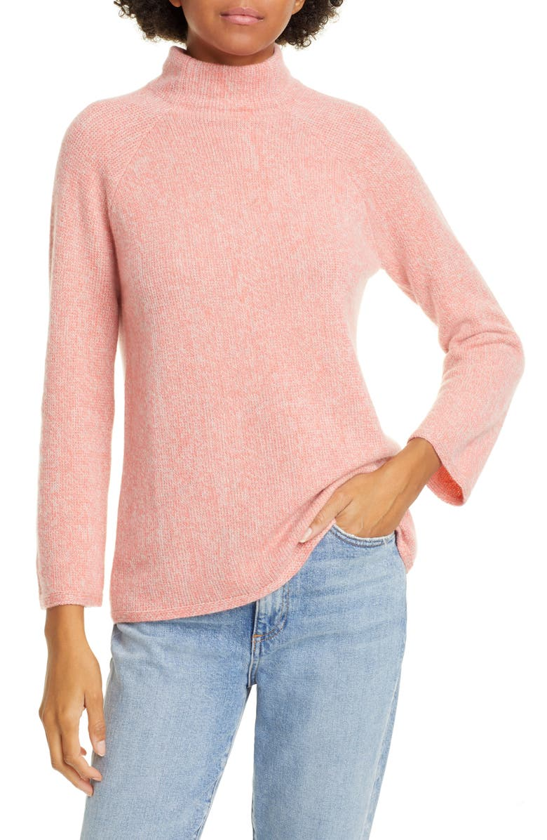 KINROSS Marled Funnel Neck Cashmere Sweater, Main, color, CAMELLIA/ BISCOTTI