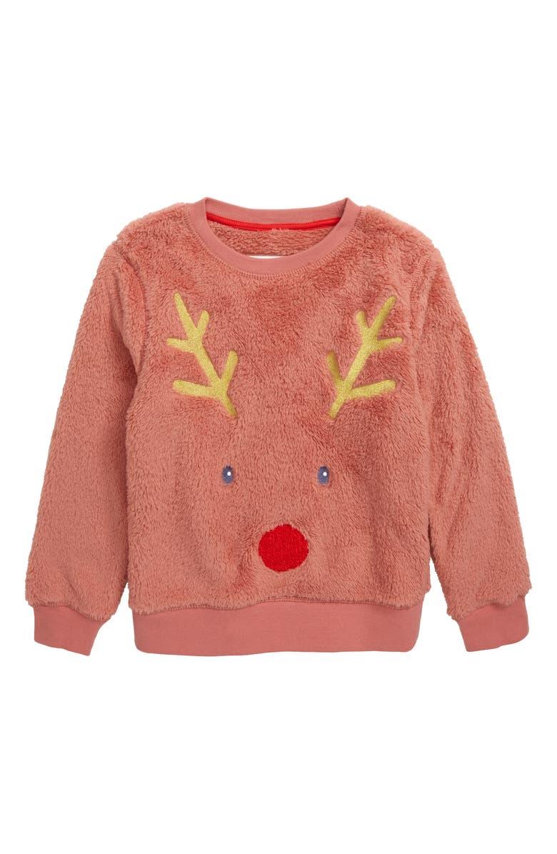 MINI BODEN Fluffy Deer Sweatshirt, Main, color, DUSKY ROSE PINK DEER