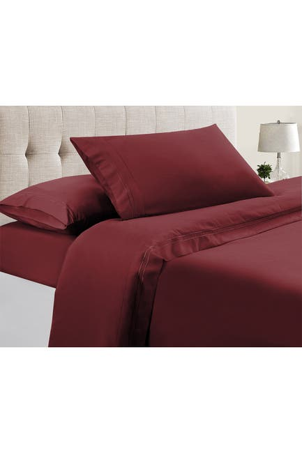 Image of Modern Threads Manor Ridge Luxury 100 GSM Brushed Microfiber Extra Soft Hypoallergenic 4-Piece Double Marrow Hem Sheet Set, Burgundy - Full