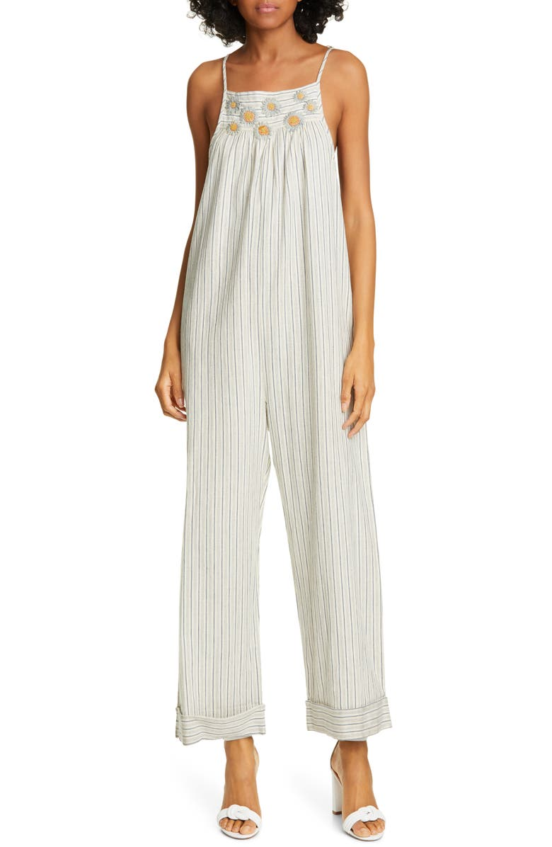 THE GREAT. The Tie Up Embroidered Jumpsuit, Main, color, NAVY TICKING STRIPE