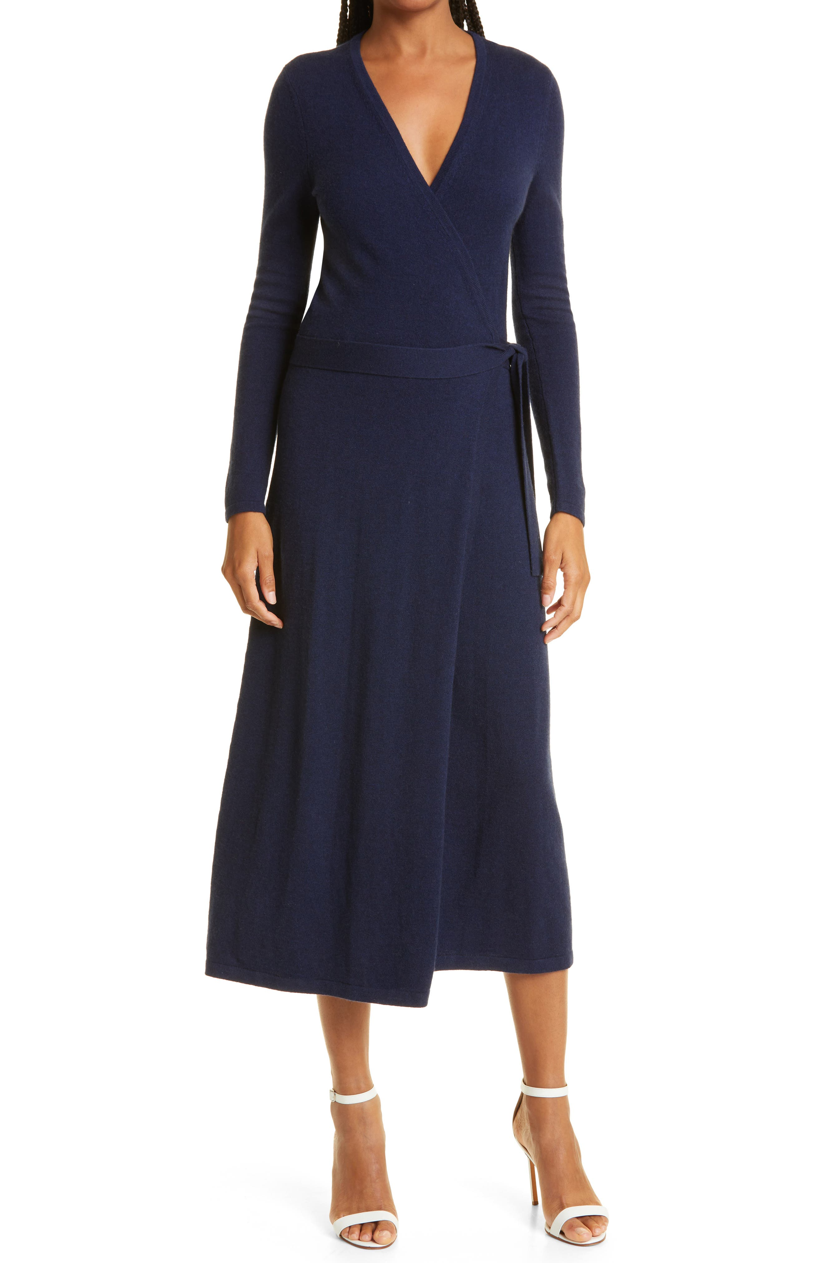 Astrid Long Sleeve Wool & Cashmere Wrap Dress