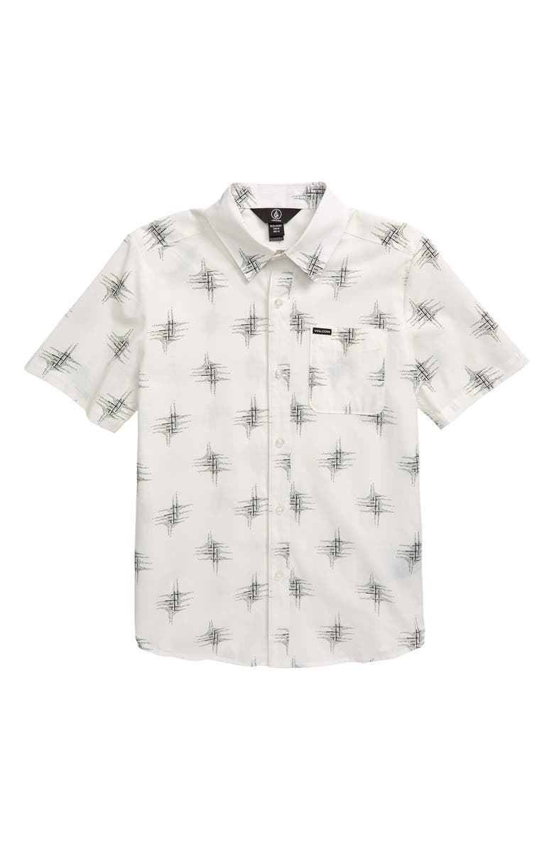 VOLCOM Marker Fade Button-Up Shirt, Main, color, WHITE