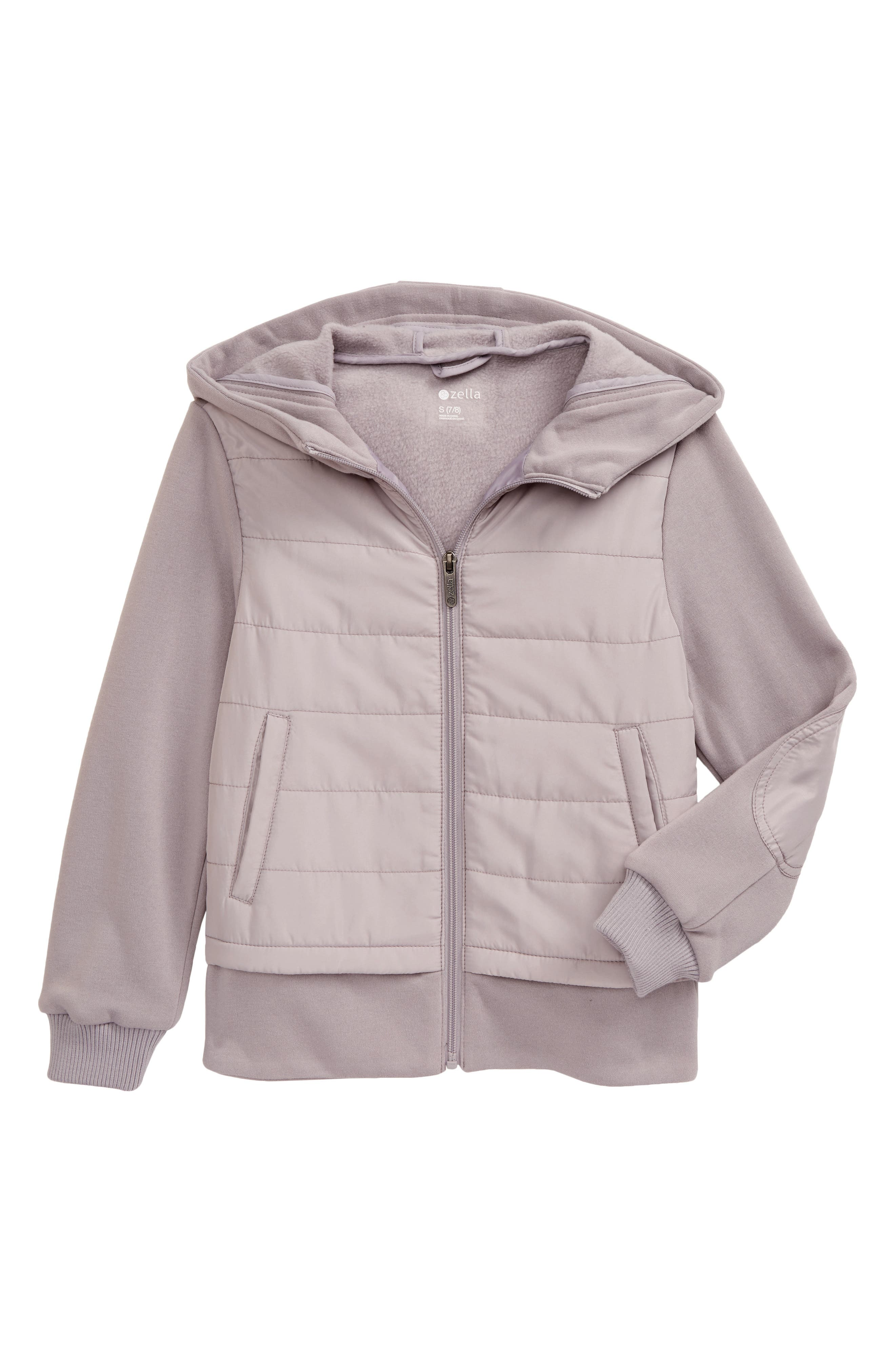 A channel-quilted woven overlay brings mixed-media appeal-while adding an extra chill-blocking layer-to this cozy French terry jacket topped with a roomy hood. Style Name: Zella Girl Mixed Media Hooded Jacket (Little Girl & Big Girl). Style Number: 6020776. Available in stores.