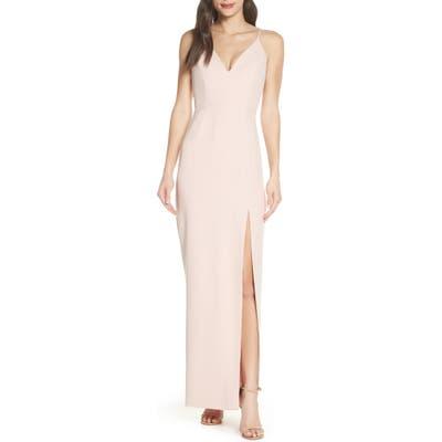 Wayf The Maisle V-Neck Scuba Crepe Evening Dress, Pink