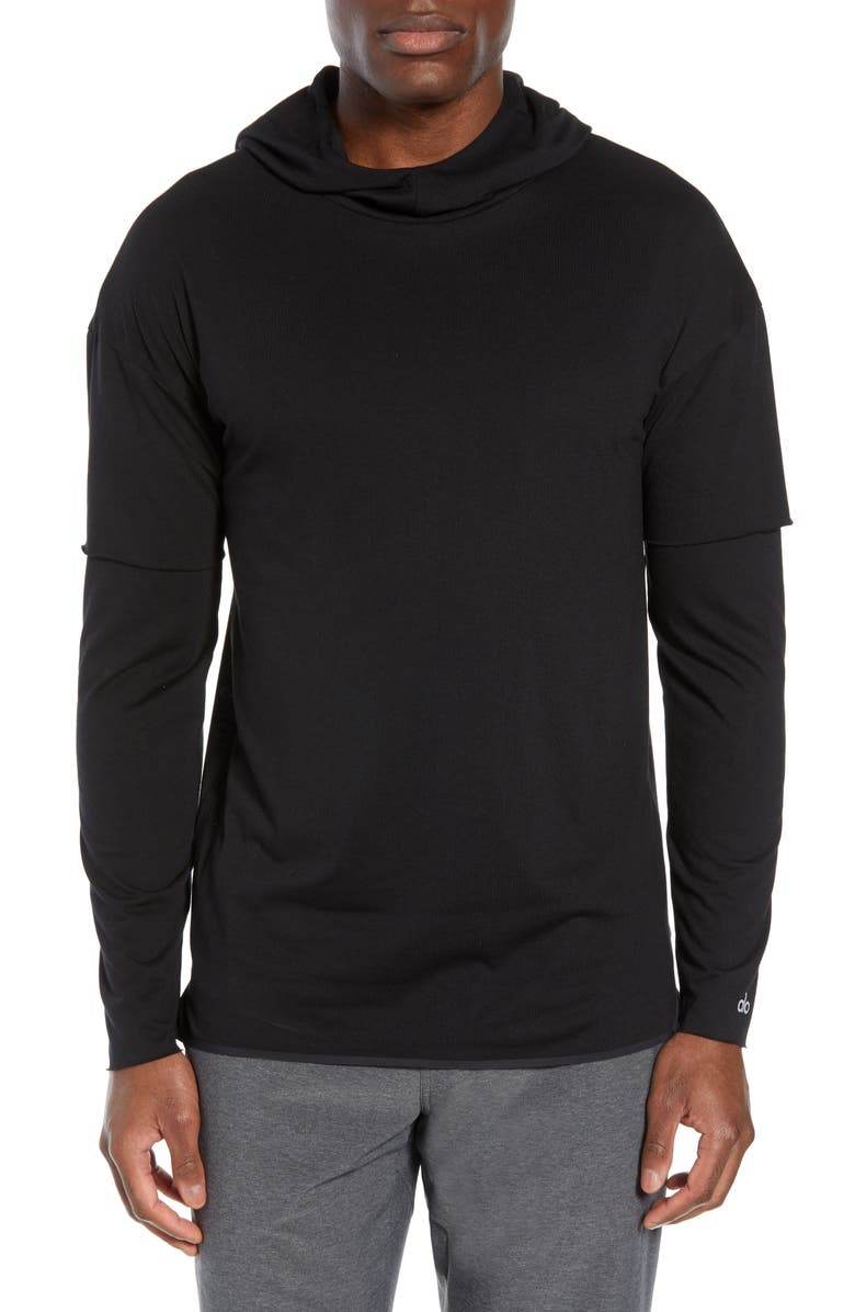 ALO 2-in-1 Pullover Hoodie, Main, color, BLACK TRIBLEND