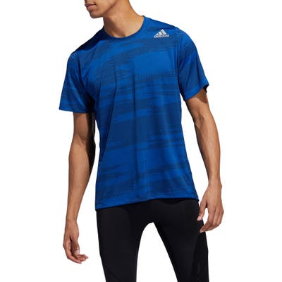 Adidas Freelift Winterize Jacquard T-Shirt, Blue