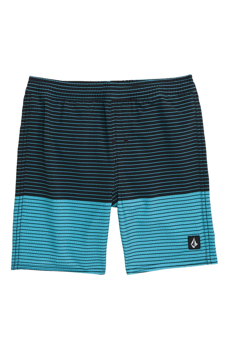 VOLCOM Lido Heather Volley Swim Trunks, Main, color, CYAN BLUE