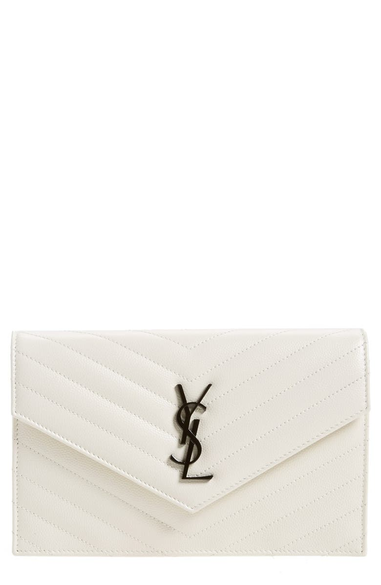 SAINT LAURENT 'Monogram' Quilted Leather Wallet on a Chain, Main, color, 100
