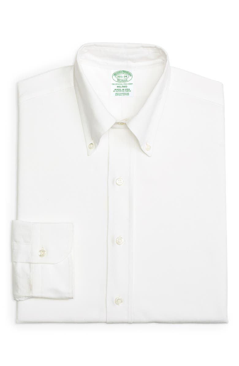 BROOKS BROTHERS Milano Slim Fit Solid Dress Shirt, Main, color, SOLID WHT