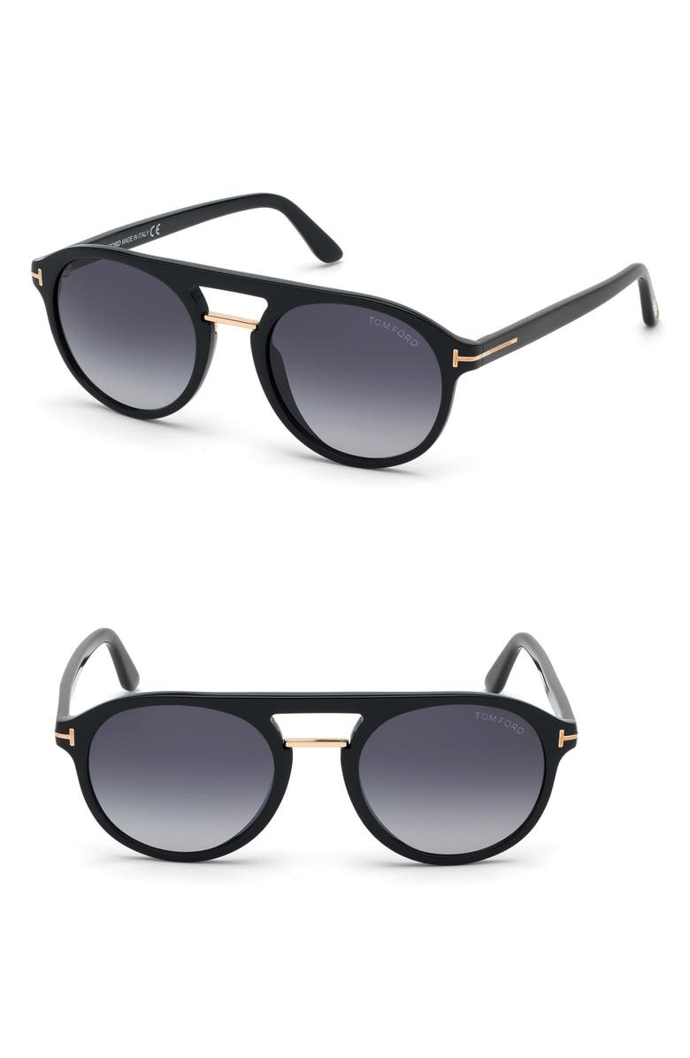 TOM FORD Ivan 54mm Polarized Aviator Sunglasses, Main, color, SHINY BLACK/ GRADIENT BLUE