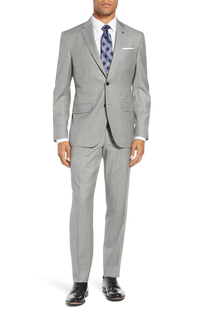 TED BAKER LONDON Jay Trim Fit Solid Wool Suit, Main, color, LIGHT GREY