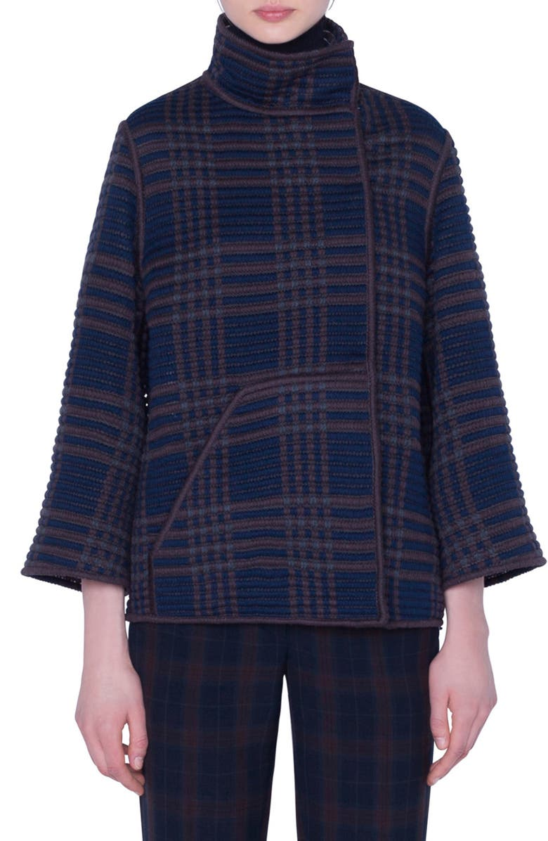 AKRIS St. Gallen Embroidered Plaid Jacket, Main, color, NAVY-BARK
