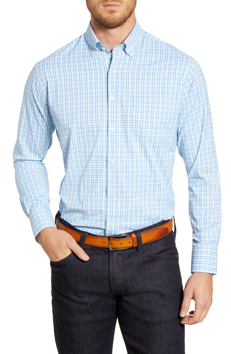 PETER MILLAR Pine Knoll Regular Fit Check Button-Down Shirt, Main, color, CASCADE BLUE