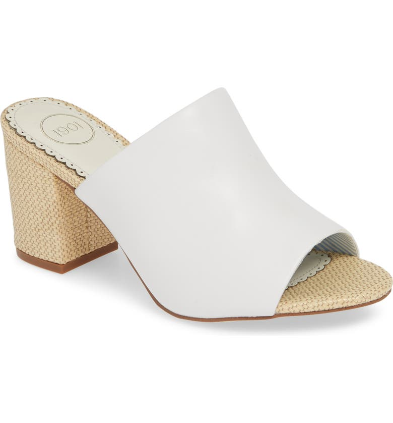 1901 Dinah Open Toe Slide, Main, color, WHITE LEATHER