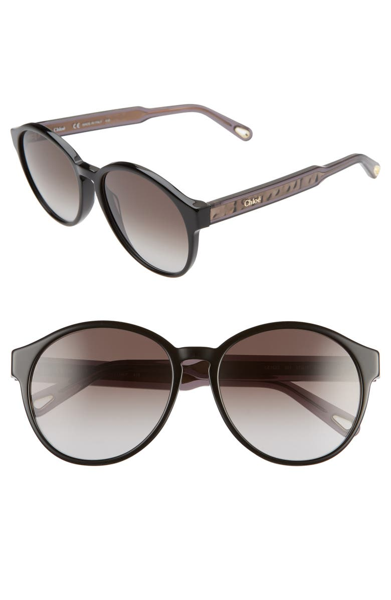 CHLOÉ Willow 57mm Round Sunglasses, Main, color, BLACK