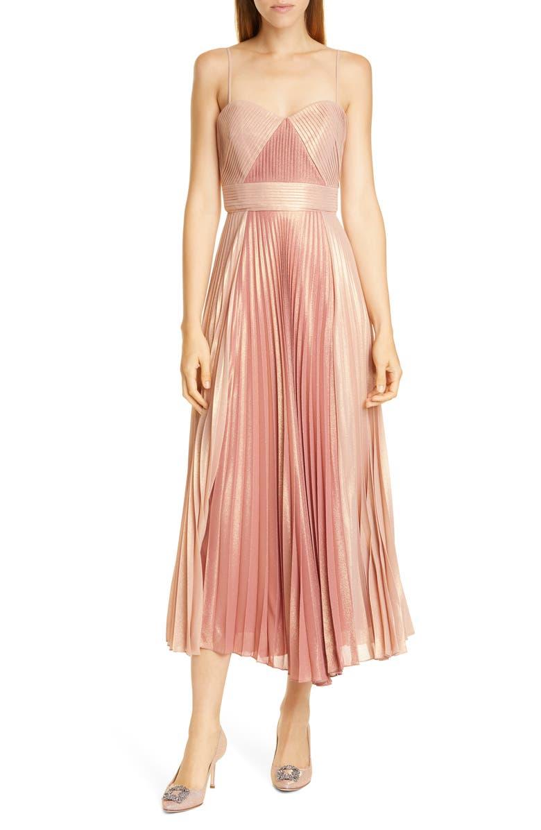 MARCHESA NOTTE Pleat A-Line Cocktail Dress, Main, color, CORAL