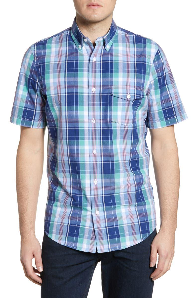 NORDSTROM MEN'S SHOP Nordstrom Mens Shop Regular Fit Plaid Short Sleeve Button-Down Linen Blend Shirt, Main, color, NAVY GREEN CLUB CHECK
