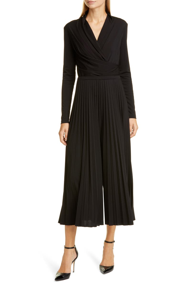MAX MARA Vieste Long Sleeve Pleated Wide Leg Jersey Jumpsuit, Main, color, BLACK