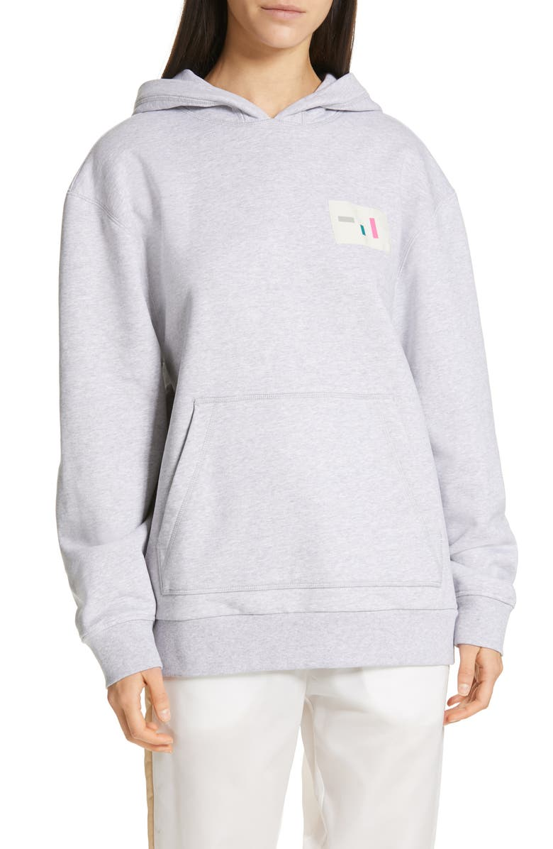 TIBI Logo Patch Hoodie, Main, color, HEATHER GREY