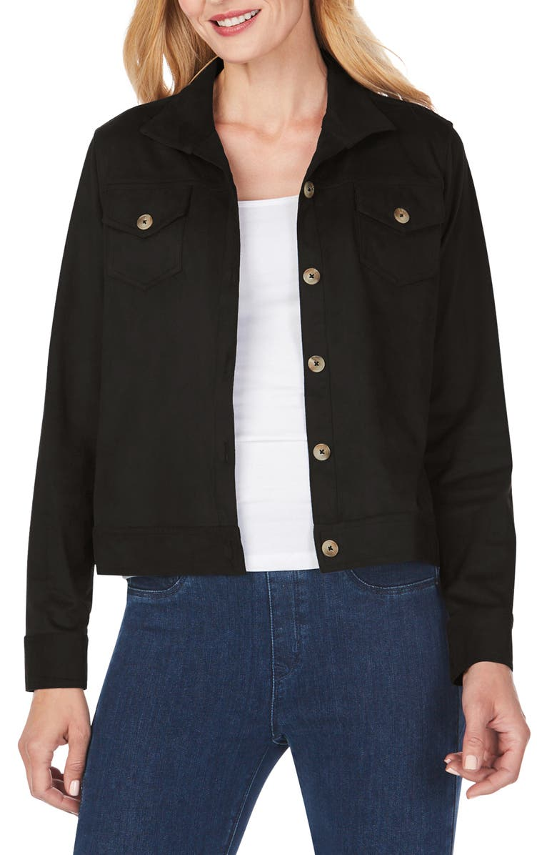 FOXCROFT Getaway Faux Suede Jacket, Main, color, BLACK