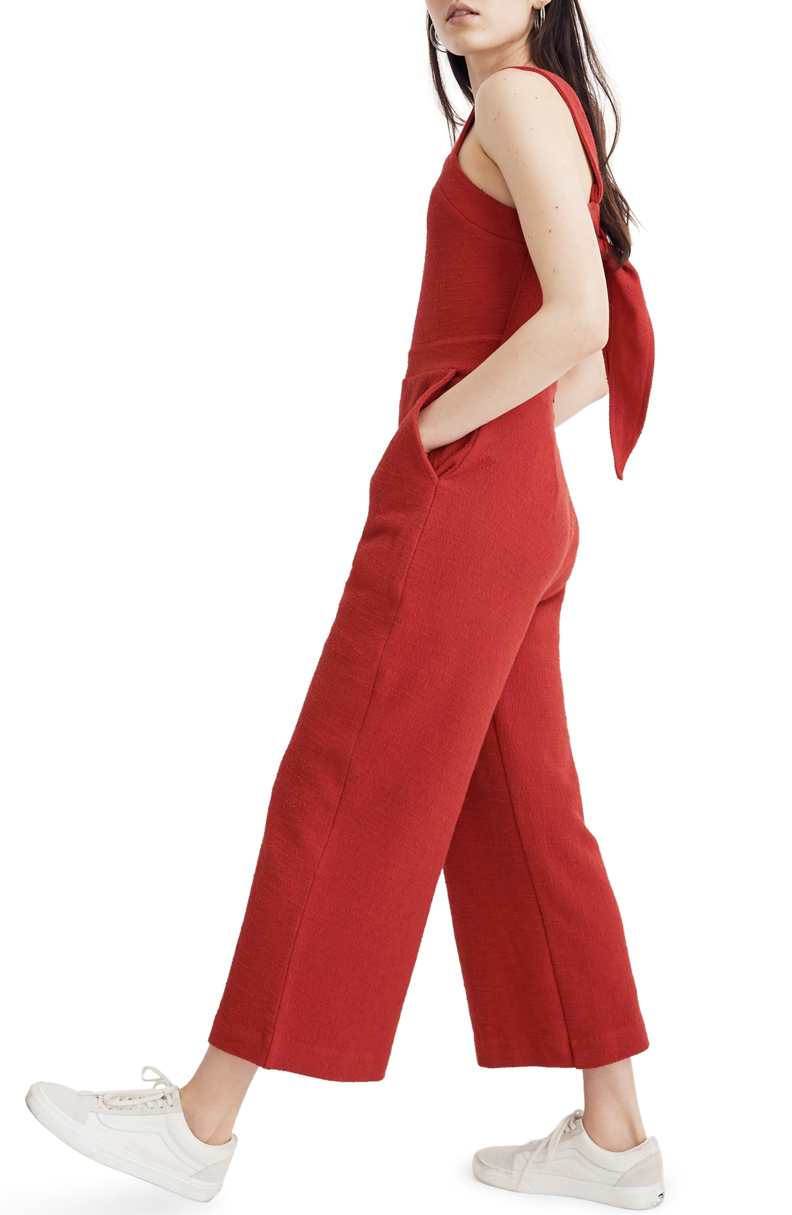 ,                             Texture & Thread Apron Bow Back Jumpsuit,                             Alternate thumbnail 4, color,                             BRIGHT EMBER