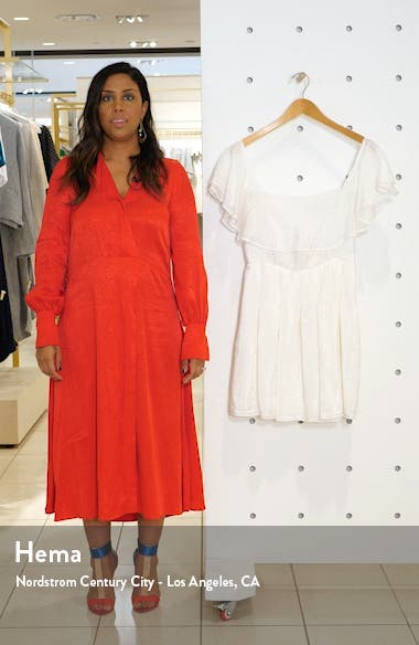 Convertible Ruffle Neck Fit & Flare Dress, sales video thumbnail