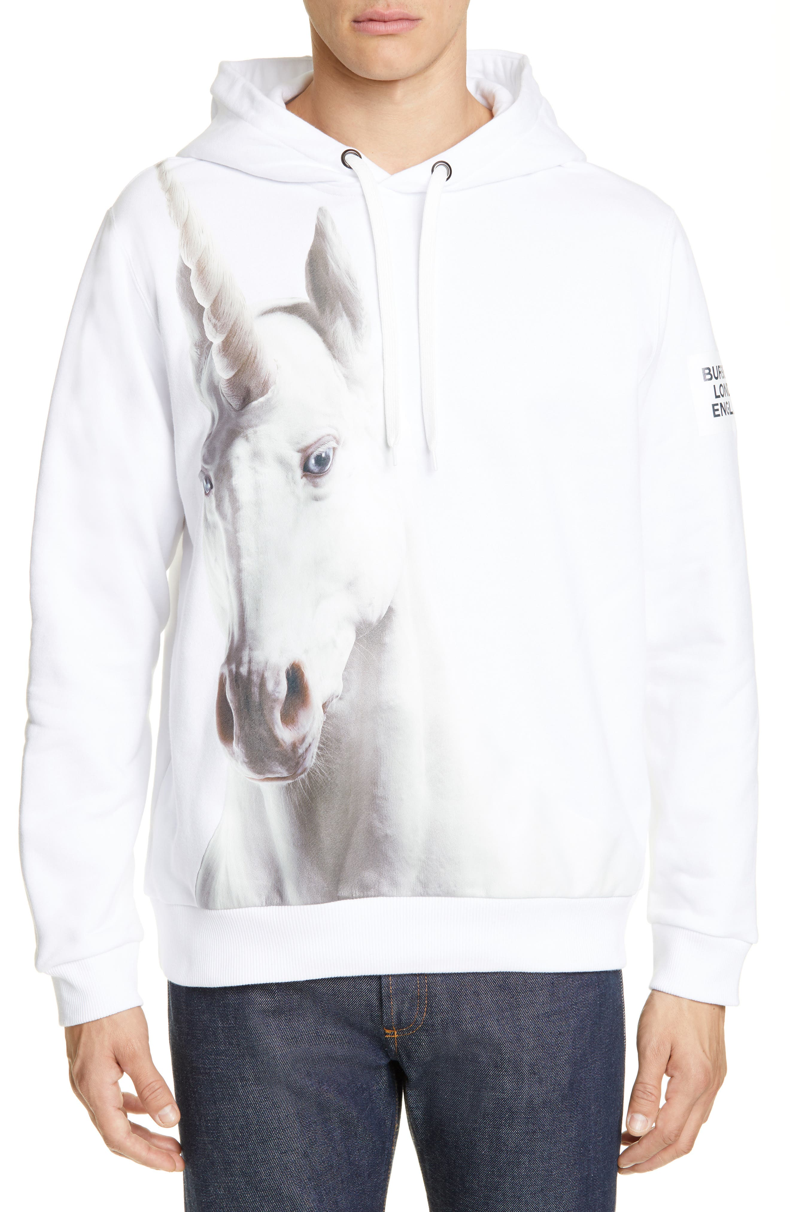 ,                             Unicorn Print Cotton Hoodie,                             Main thumbnail 1, color,                             WHITE