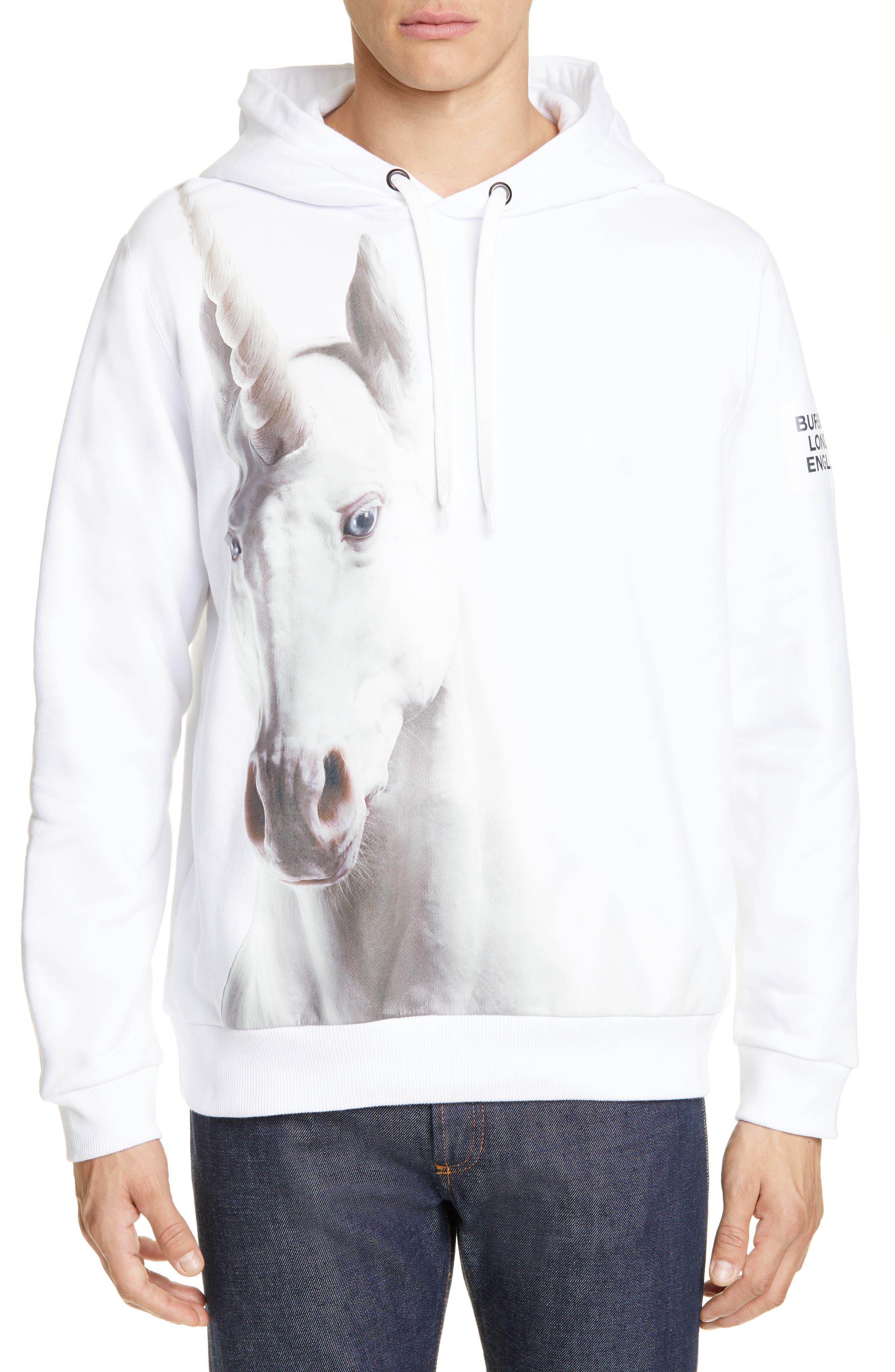 Unicorn Print Cotton Hoodie, Main, color, WHITE