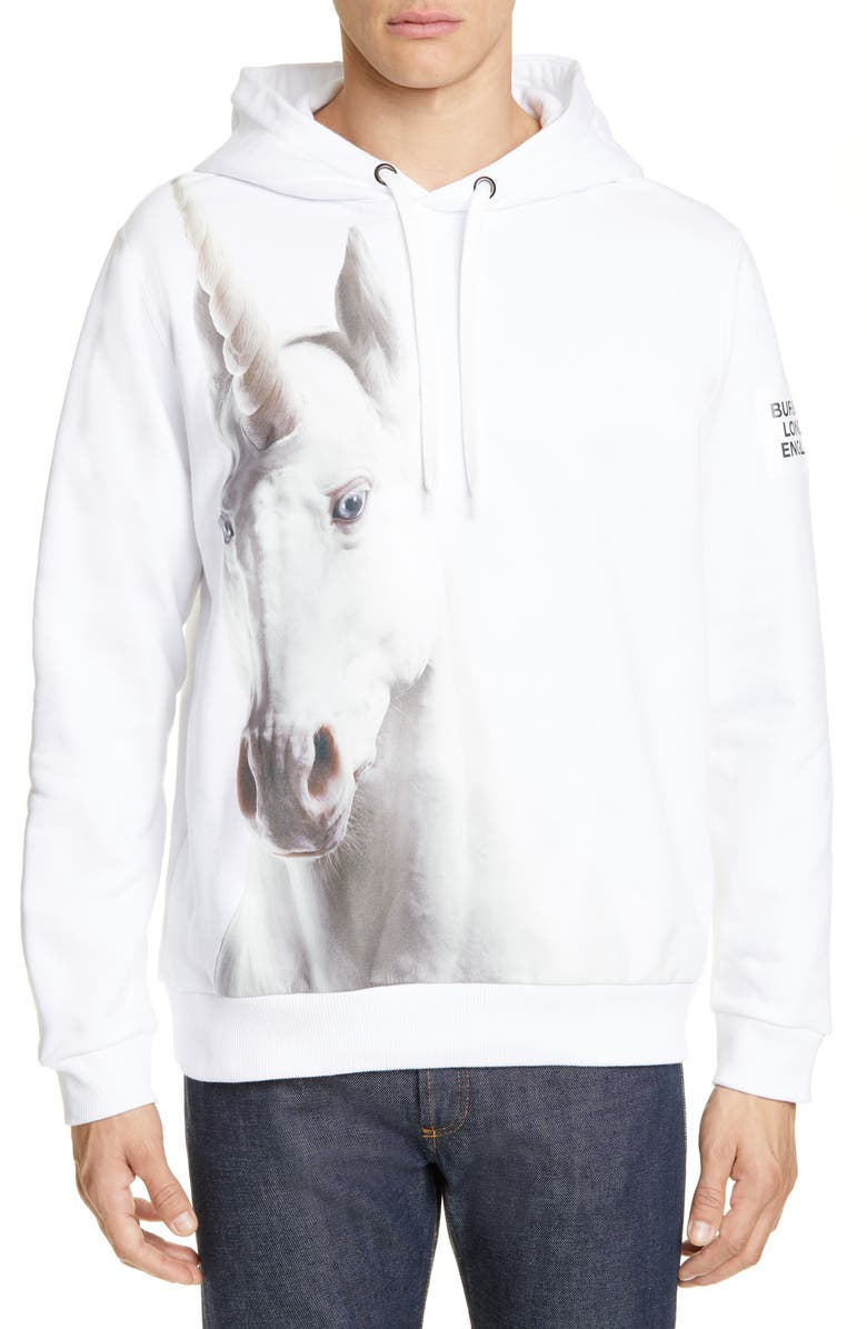 BURBERRY Unicorn Print Cotton Hoodie, Main, color, WHITE