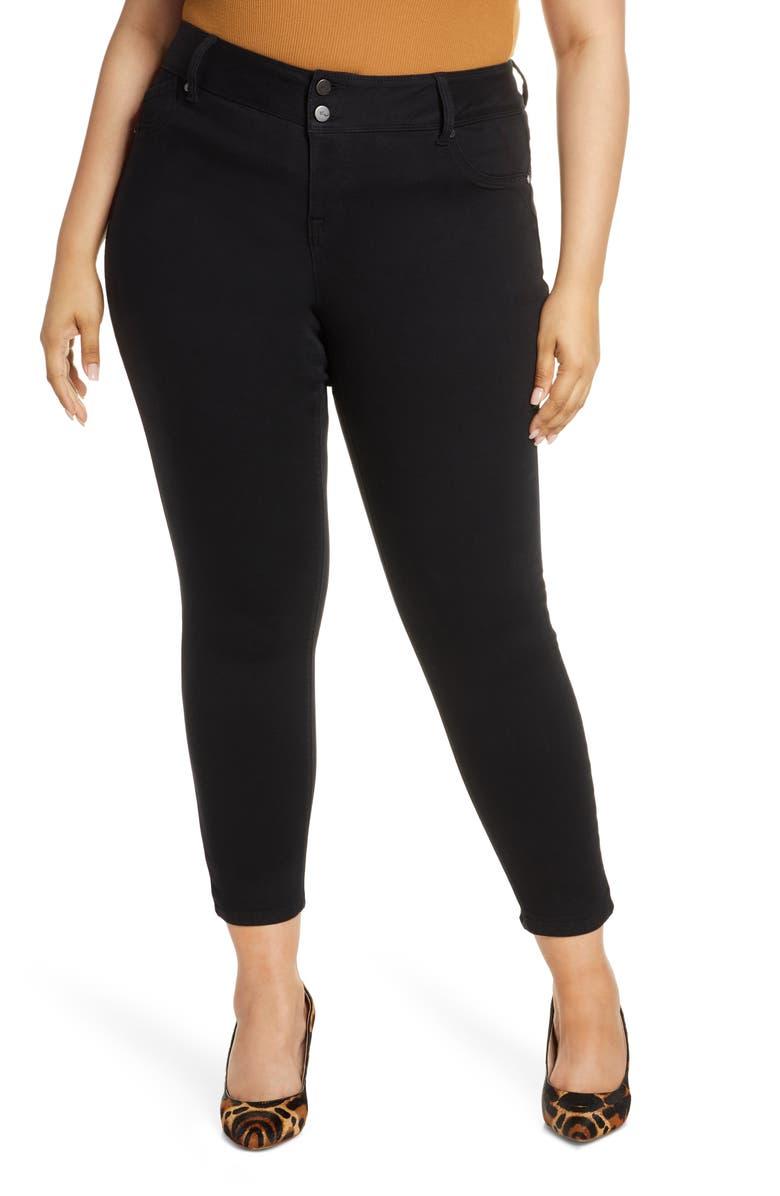 1822 DENIM Double Button Contour Skinny Jeans, Main, color, BLACK