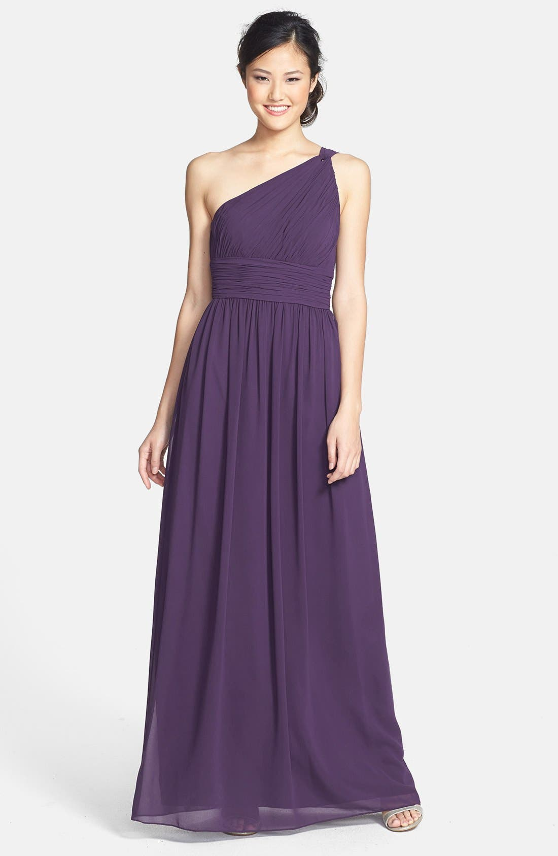 ,                             'Rachel' Ruched One-Shoulder Chiffon Gown,                             Main thumbnail 80, color,                             513