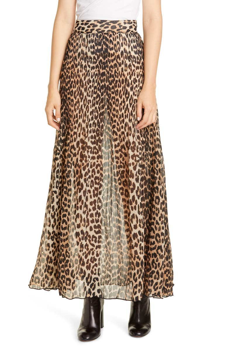 GANNI Leopard Print Sheer Pleated Georgette Maxi Skirt, Main, color, LEOPARD