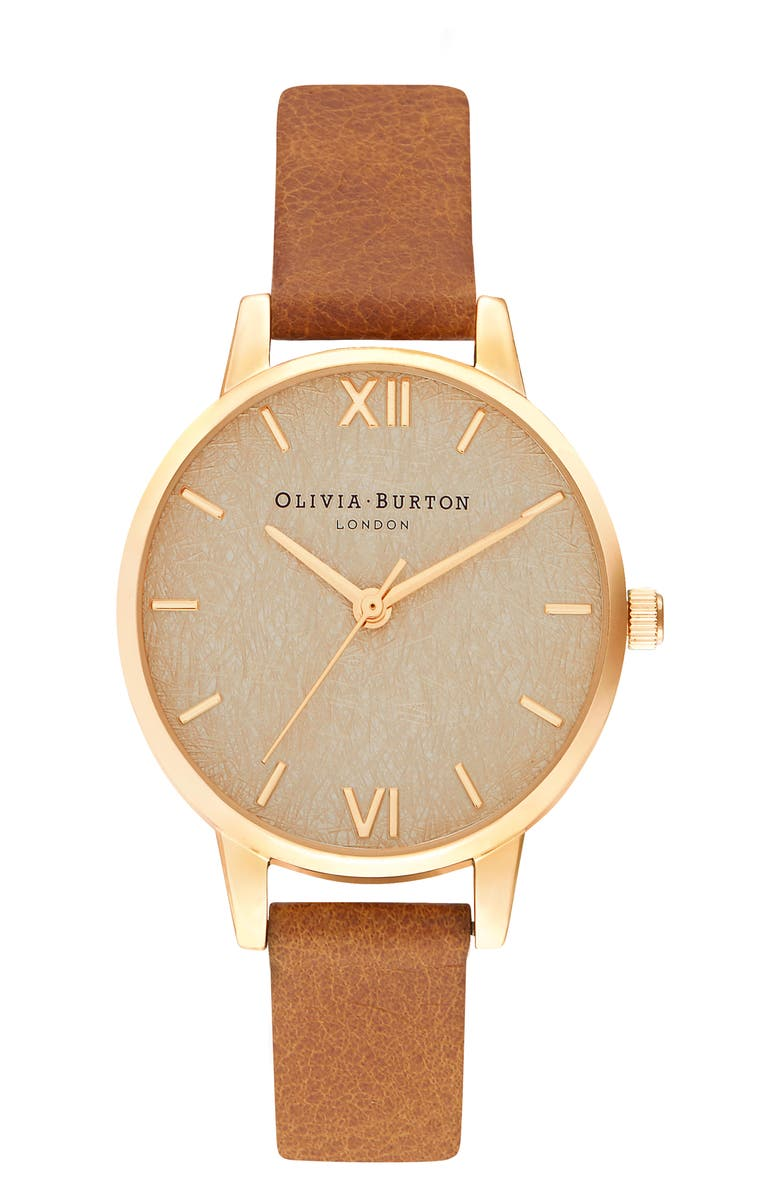 OLIVIA BURTON Woven Dial Leather Strap Watch, 30mm, Main, color, HONEY TAN/ GOLD