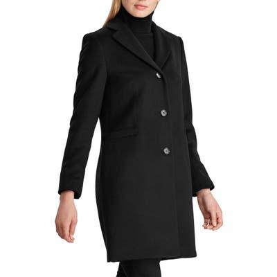 Petite Lauren Ralph Lauren Wool Blend Reefer Coat, Black