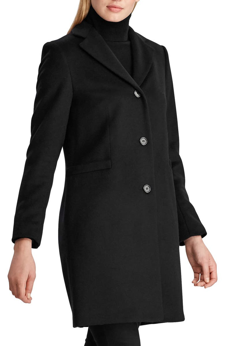 LAUREN RALPH LAUREN Wool Blend Reefer Coat, Main, color, BLACK