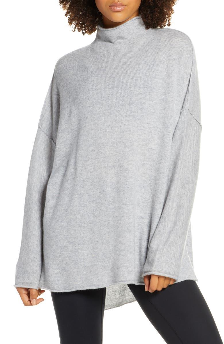 ZELLA Elevate Oversize Wool & Cashmere Mock Neck Pullover, Main, color, GREY MEDIUM CHARCOAL HEATHER