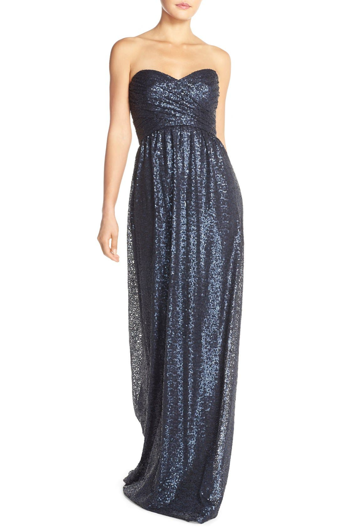 ,                             'London' Sequin Tulle Strapless Column Gown,                             Main thumbnail 9, color,                             410