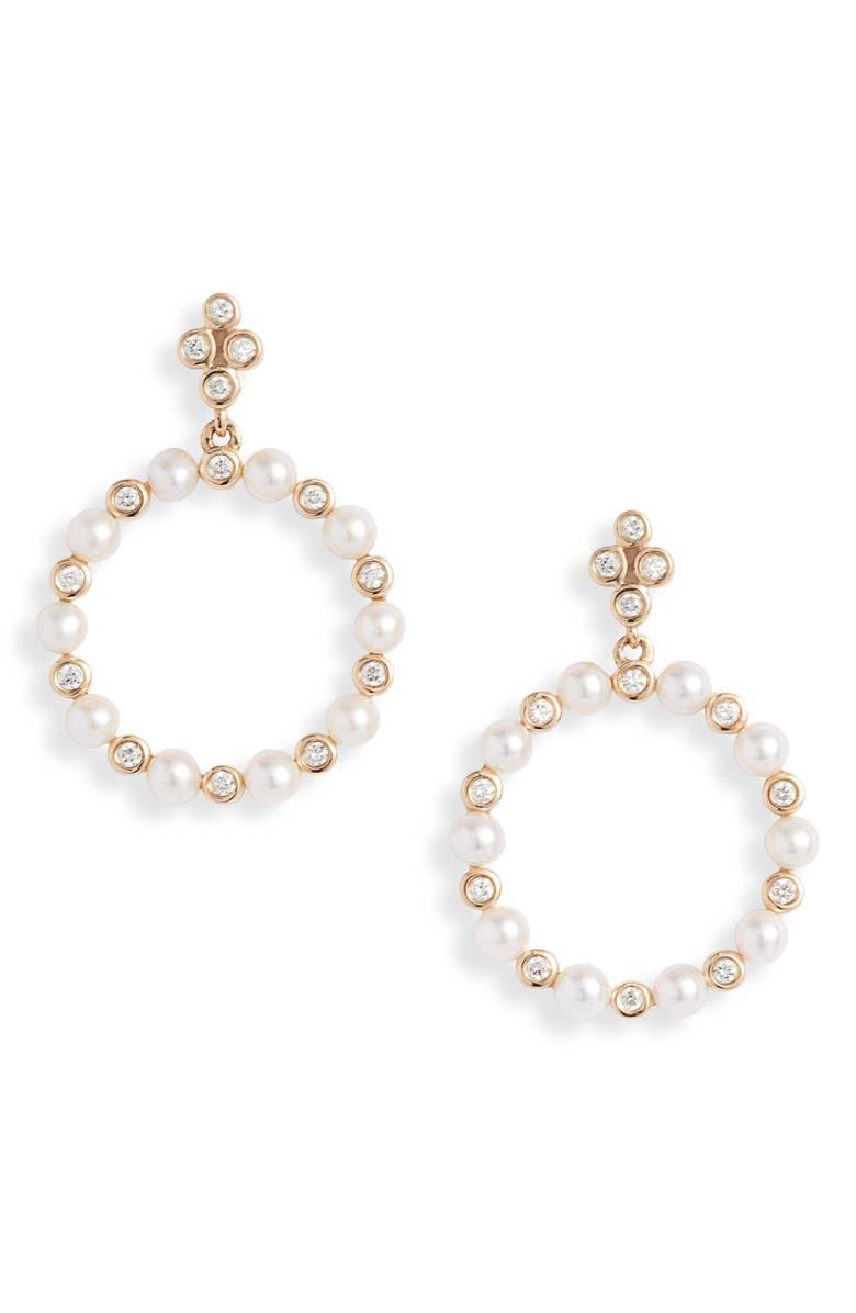 DANA REBECCA DESIGNS Ivy Pearl & Diamond Frontal Hoop Earrings, Main, color, 710