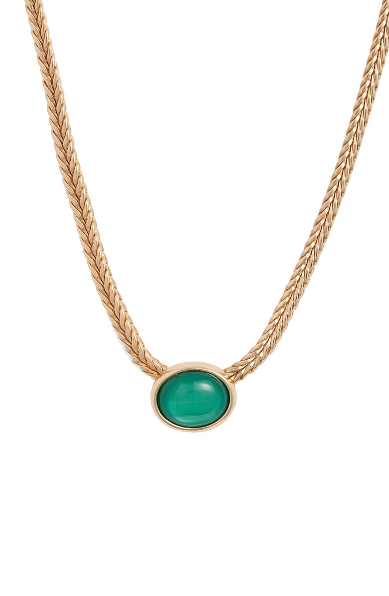 HALOGEN<SUP>®</SUP> Synthetic Stone Collar Necklace, Main, color, GREEN- GOLD