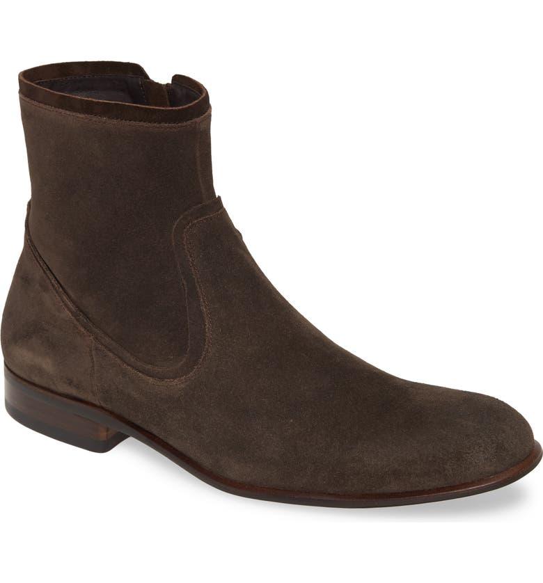 JOHN VARVATOS STAR USA Seagher Side Zip Boot, Main, color, ESPRESSO SUEDE