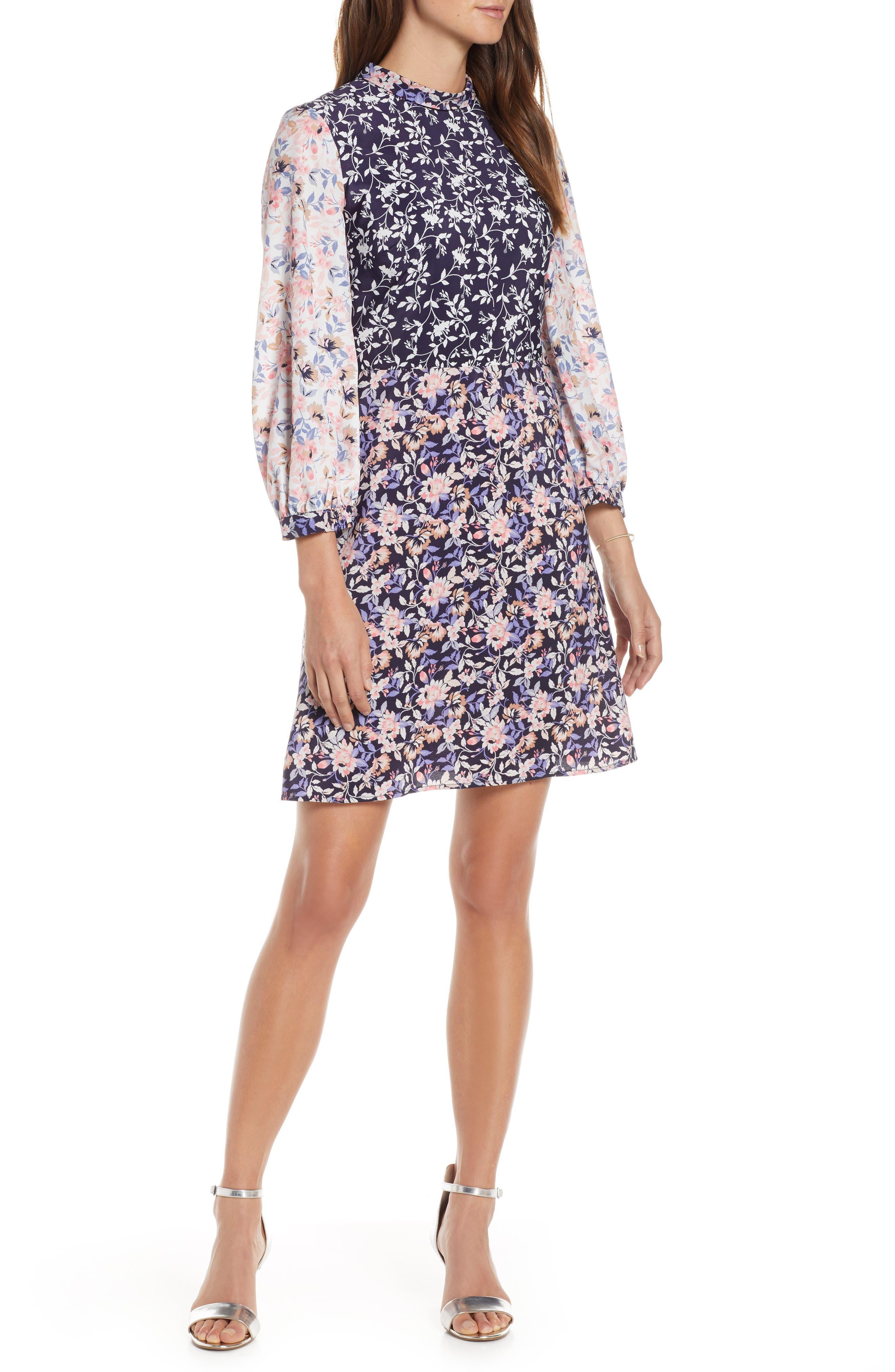 70s Dresses – Disco Dress, Hippie Dress, Wrap Dress Womens 1901 Colorblock Floral Woven Dress $77.40 AT vintagedancer.com