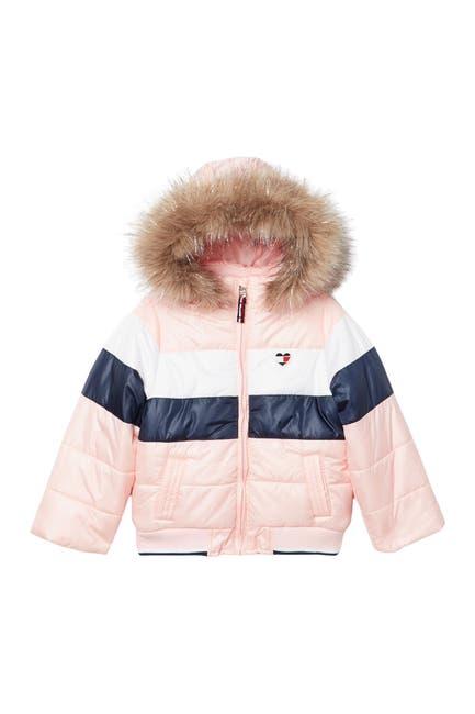 Removable Hood Faux Fur Trim Colorblock, Faux Fur Coat Hood Trim