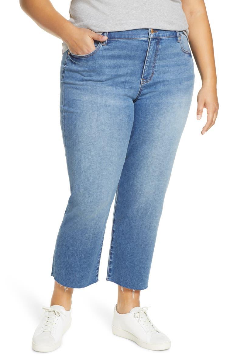 LIVERPOOL Fray Hem Crop Straight Leg Jeans, Main, color, ARIZONA
