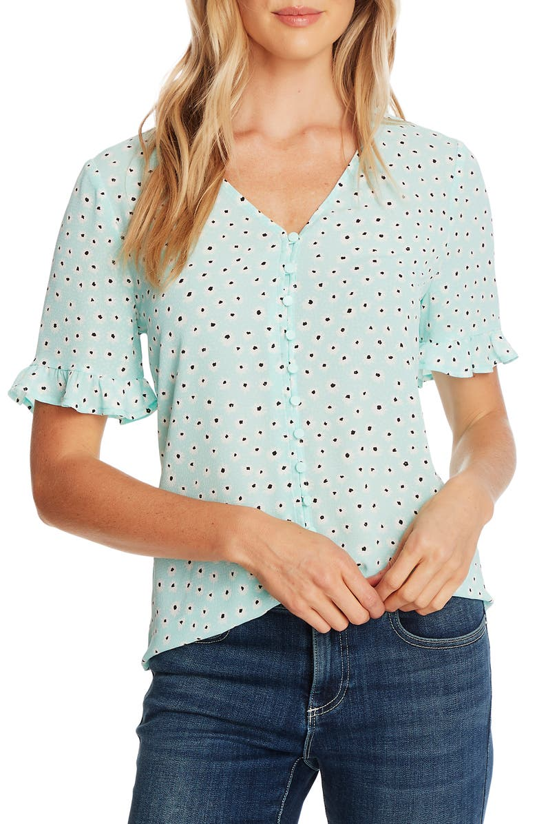CECE Daisy Melody Ruffle Short Sleeve Blouse, Main, color, SPEARMINT ICE