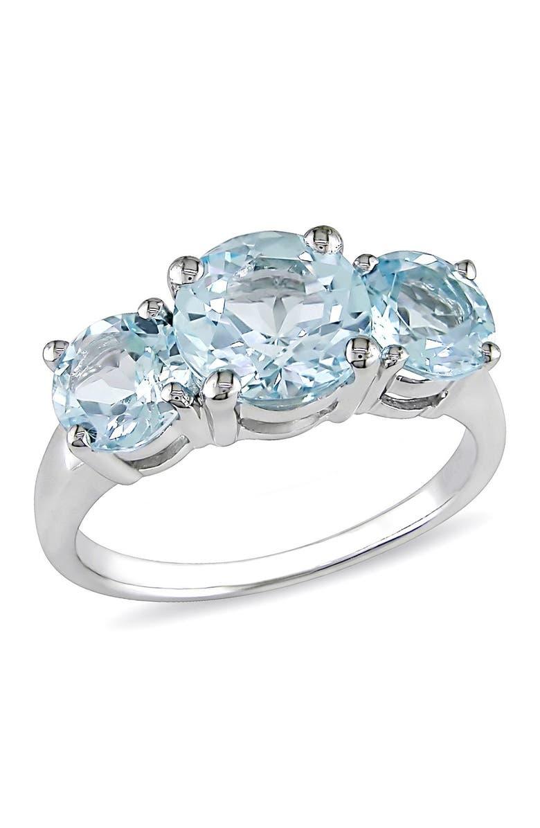 DELMAR Sterling Silver Blue Topaz Triple Stone Ring, Main, color, BLUE