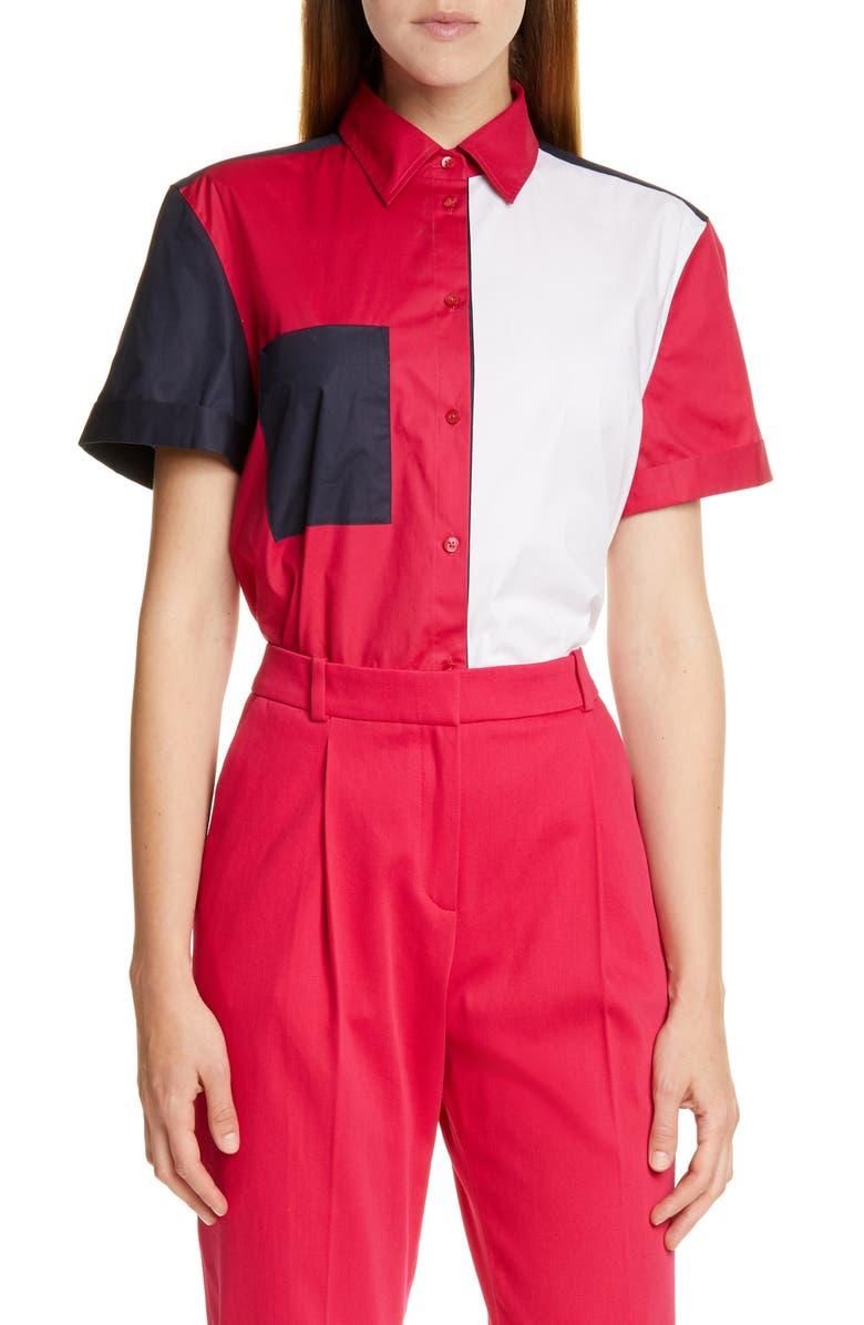 HUGO Efisia Colorblock Shirt, Main, color, 199