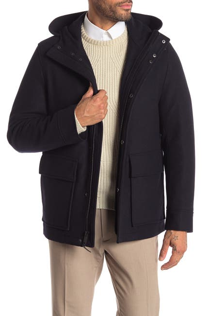 Image of Cole Haan Melton Faux Fur Lined Hooded Coat