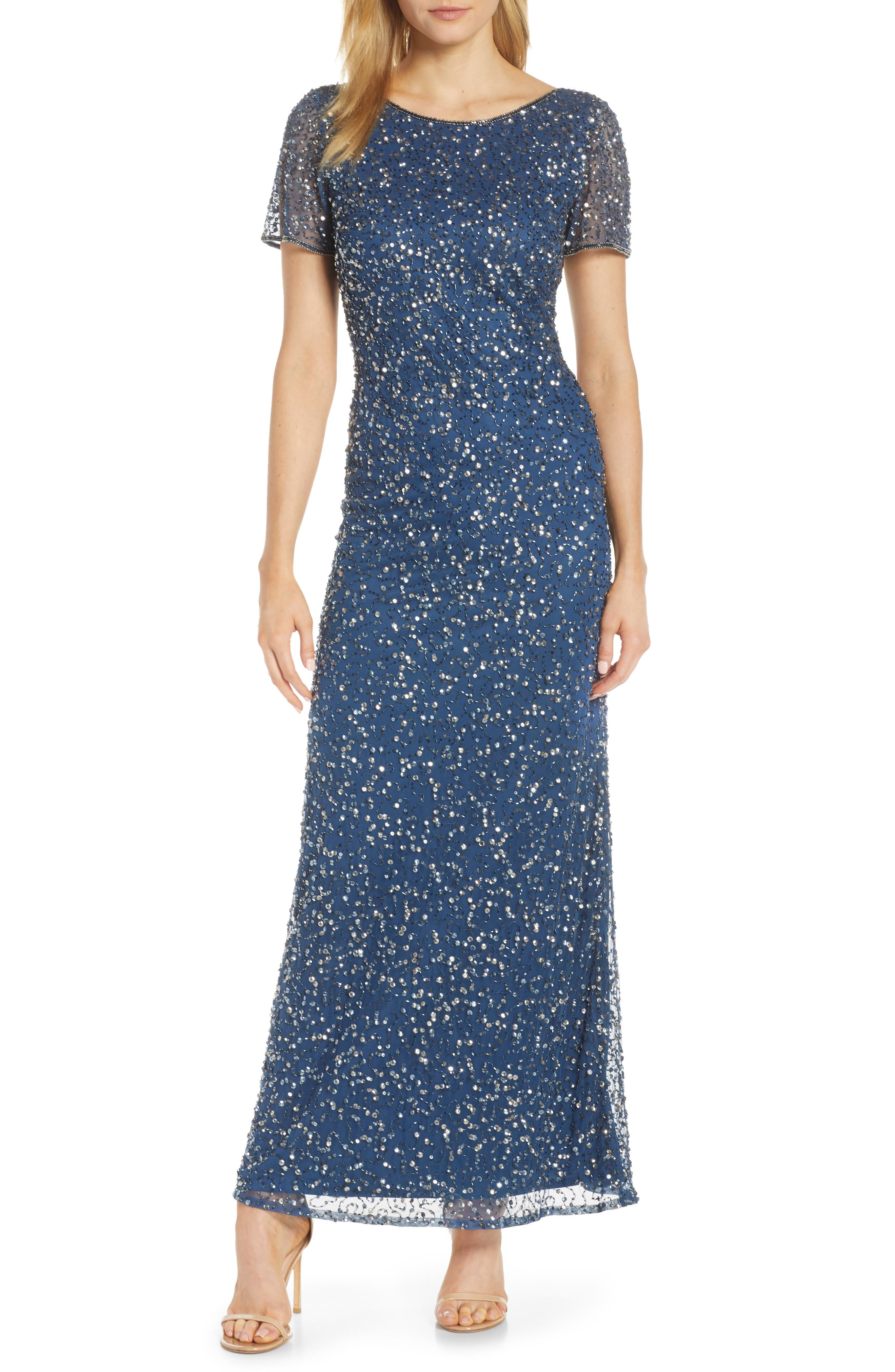 Plus Size Pisarro Nights Short Sleeve Beaded Evening Dress, Blue