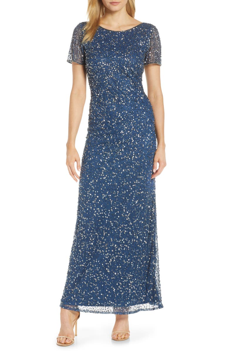 Short Sleeve Beaded Evening Dress