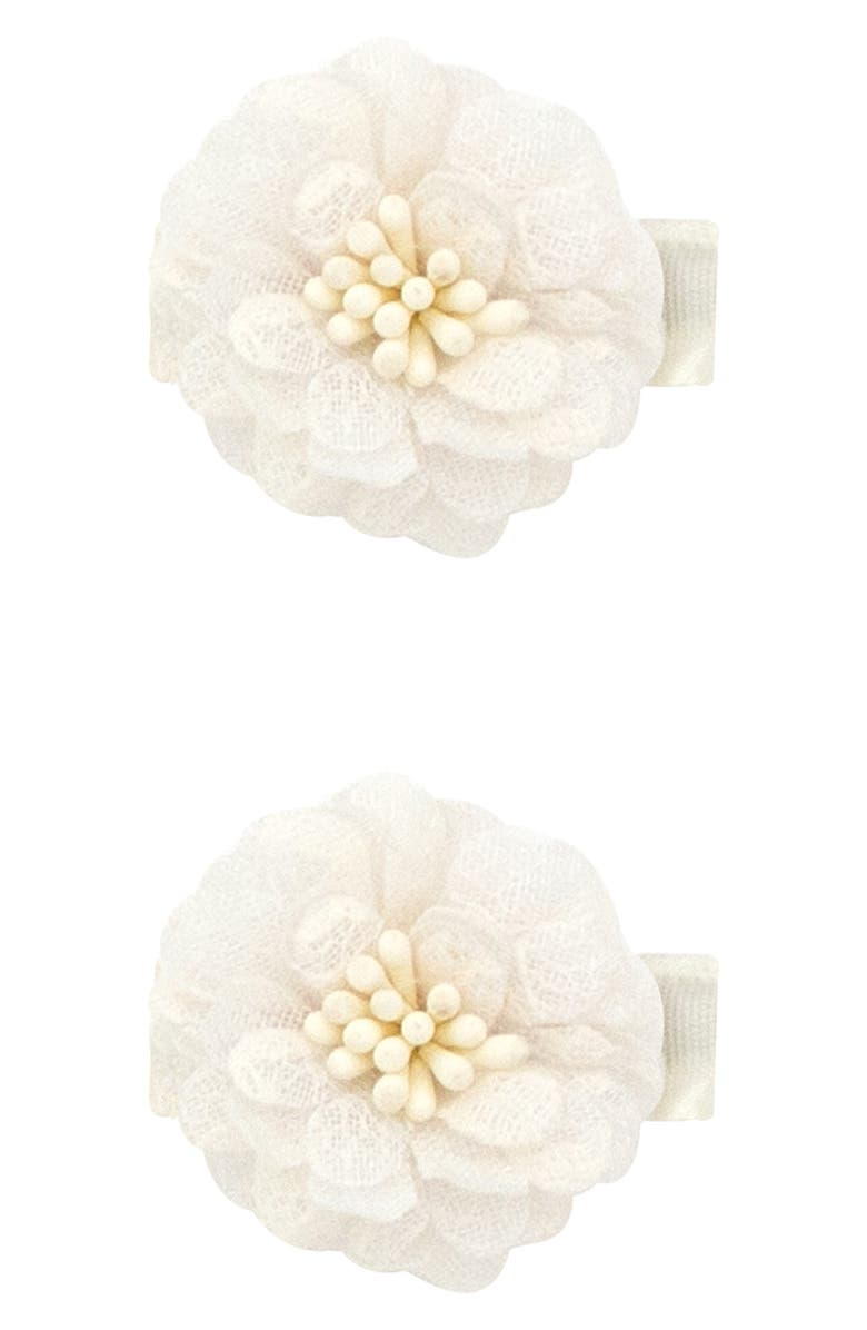PLH BOWS 2-Pack Flower Hair Clips, Main, color, WHITE